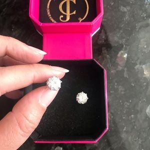 Juicy Couture pave crystal & silver stud earrings